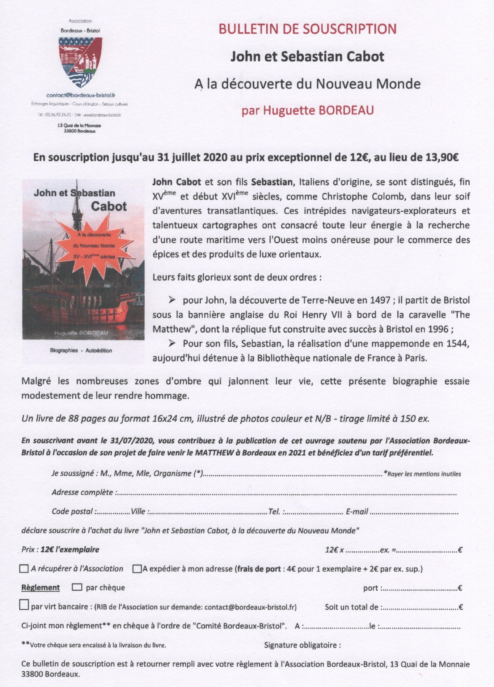 BULLETIN DE SOUSCRIPTION livre John et Sebastian Cabot