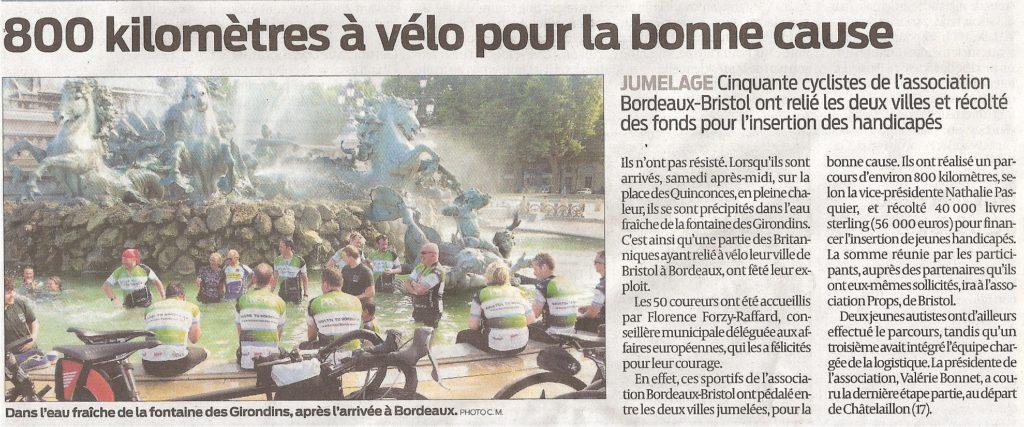 2015 07 04 PROPS arrivée cycliste Bx article 2 journal Sud Ouest